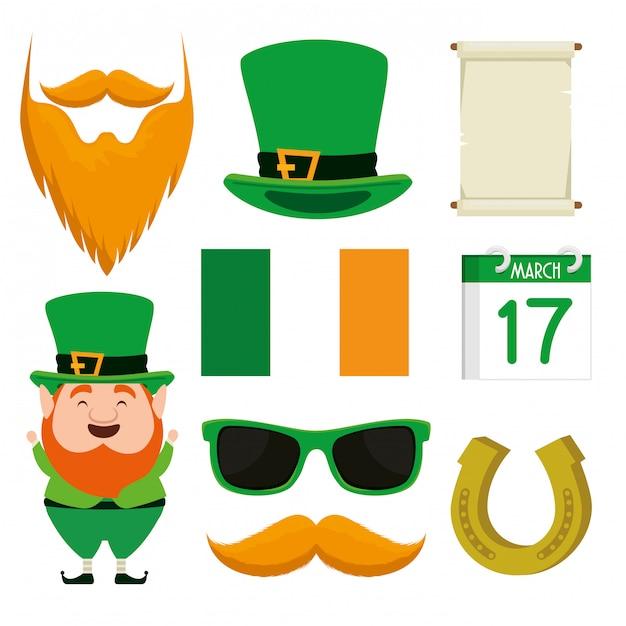 お祝いのためのひげと聖パトリックの帽子を設定します 無料ベクター
