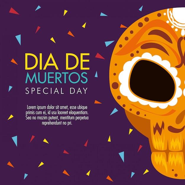 День мертвого праздника с украшением черепа Бесплатные векторы