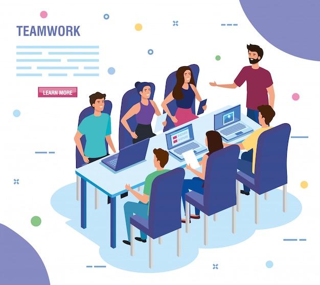 Работа в команде людей на встрече аватара персонажа шаблона Бесплатные векторы
