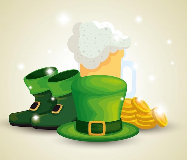 聖パトリックの日のブーツとビールグラスとコインの帽子 無料ベクター