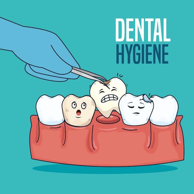 歯のケアと抜歯器治療 無料ベクター