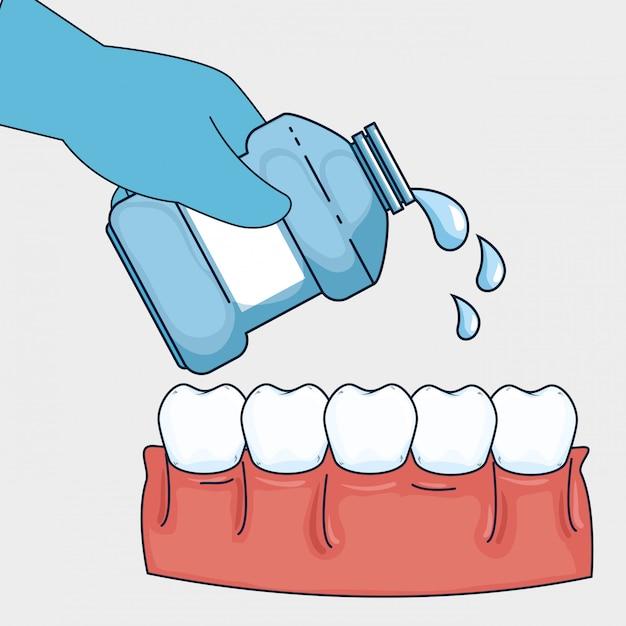 マウスウォッシュ装置による歯の健康管理 無料ベクター