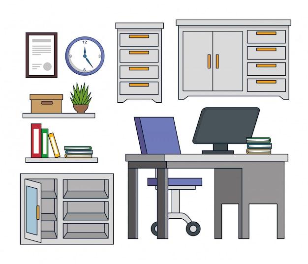 Установите офисный шкаф с компьютером и книгами на столе Бесплатные векторы