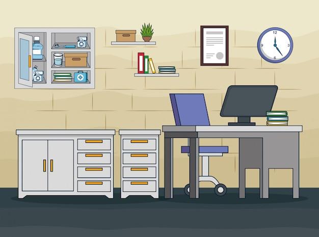 Стоматологический кабинет с медикаментозным лечением и оборудованием Бесплатные векторы