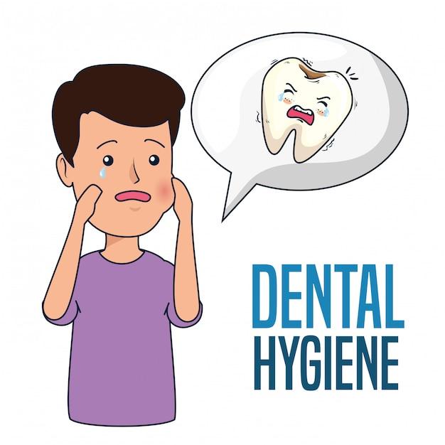 歯痛と虫歯の患者の少年 無料ベクター
