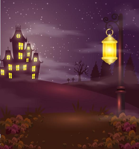 ハロウィーンシーンのランプと幽霊の出る城 無料ベクター