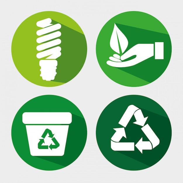 リサイクルゴミと葉で電球を保存するエコロジーを設定します Premiumベクター