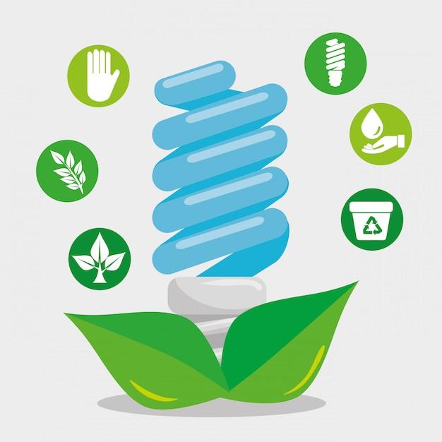 葉とエコロジー要素で電球を保存 Premiumベクター