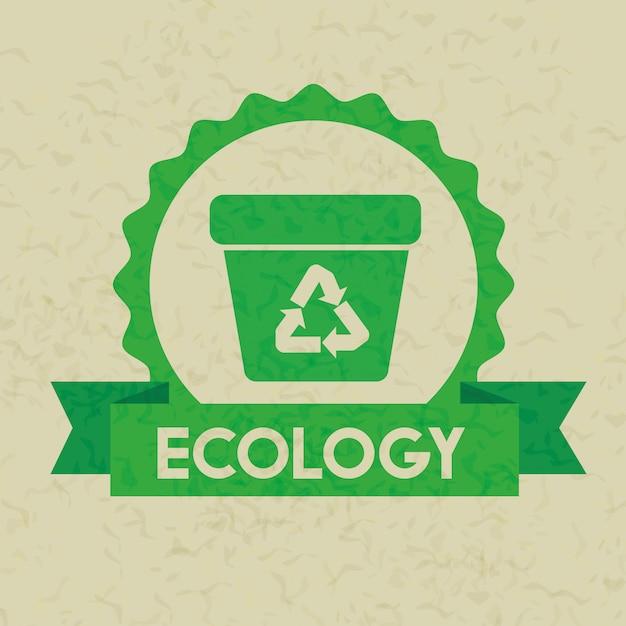 Этикетка с экологичным мусором и лентой Premium векторы