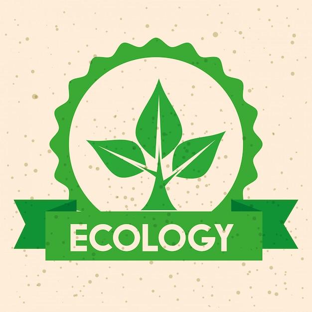 木の保全とリボンとエコロジーラベル Premiumベクター