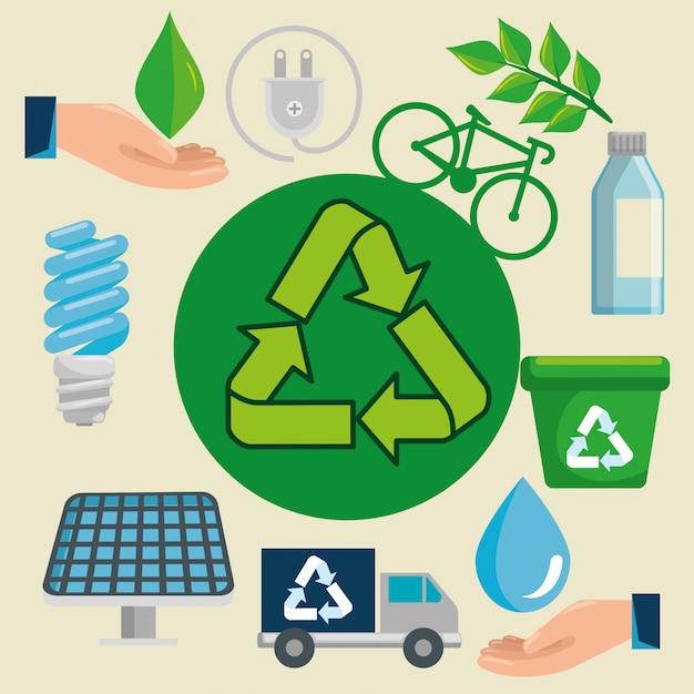 生態学的保護へのリサイクル標識付きのラベル Premiumベクター