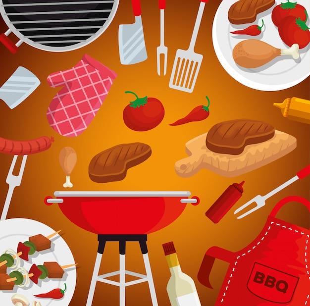 肉のグリルとソーセージとトマトとバーベキュー用品 無料ベクター