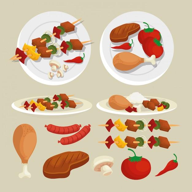 Набор колбасок с картофелем и приготовлением мясного гриля Бесплатные векторы