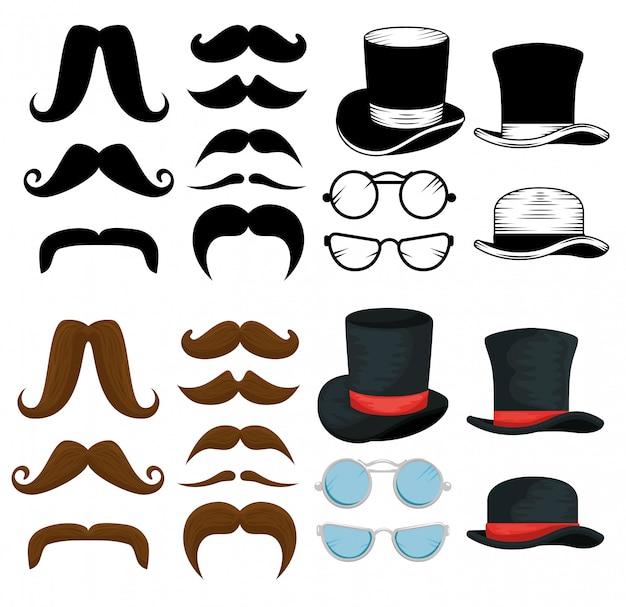 男性の帽子、口ひげ、メガネのパック 無料ベクター