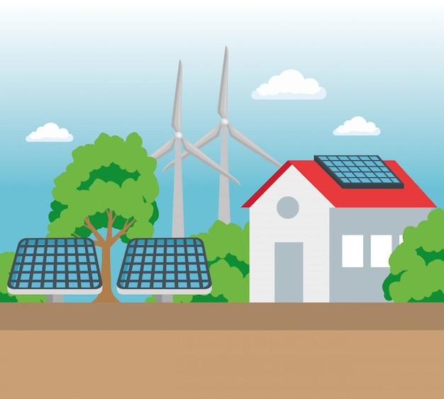 エコロジー保全のための太陽光と風力エネルギーのある家 Premiumベクター