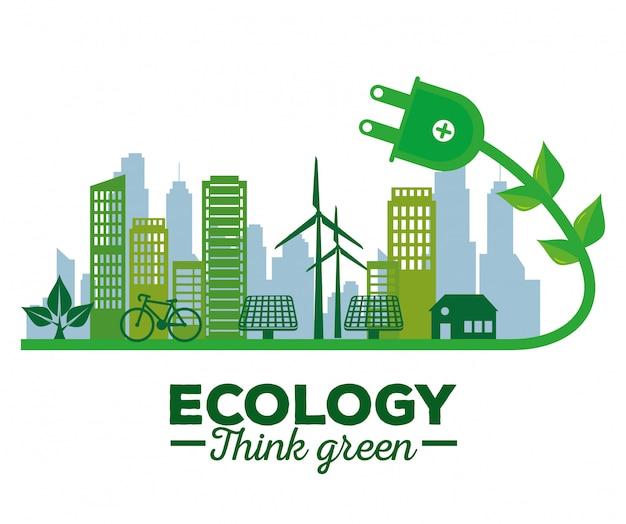 建物と家のエコロジー太陽エネルギー Premiumベクター