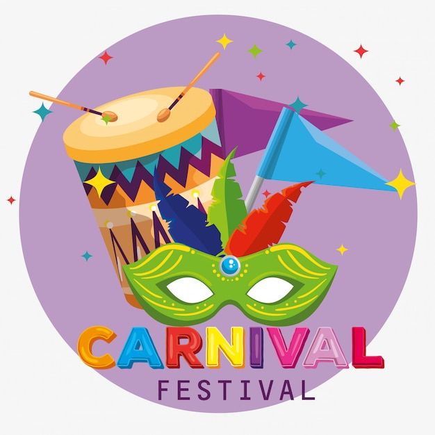 羽飾りとカーニバルへの旗と祭りマスク Premiumベクター