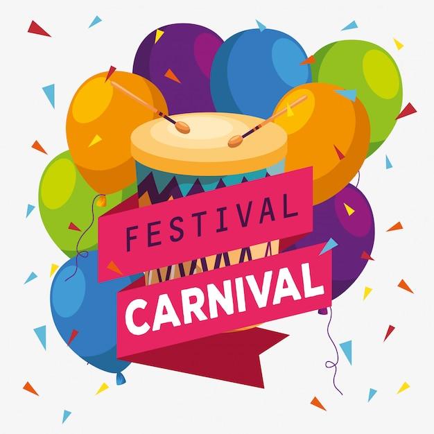 お祝いにドラムとリボンで祭り風船の装飾 Premiumベクター