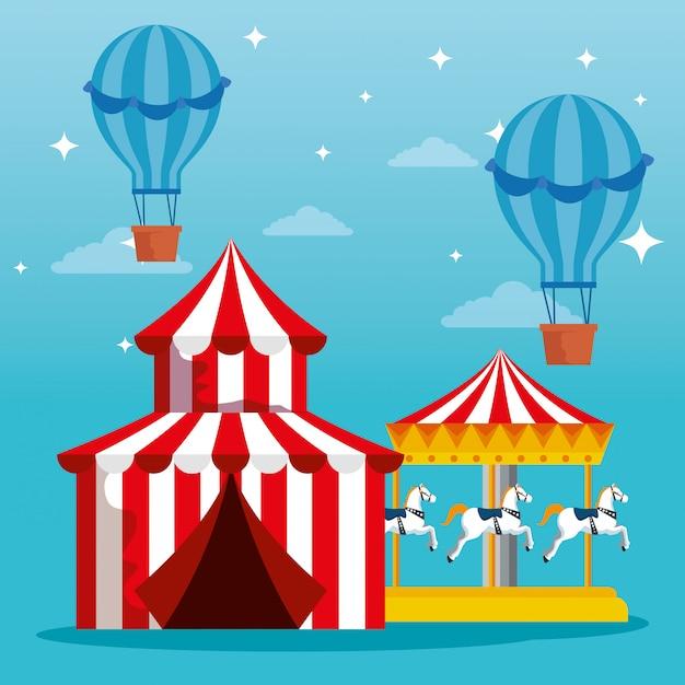 Карнавальный цирк с воздушными шариками и женитьбой Premium векторы