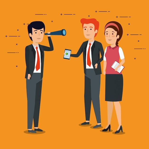 Профессиональные бизнесмены, работающие вместе Бесплатные векторы