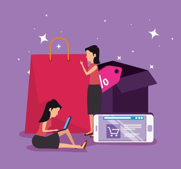 Покупки онлайн и женщины со смартфоном электронной коммерции Бесплатные векторы