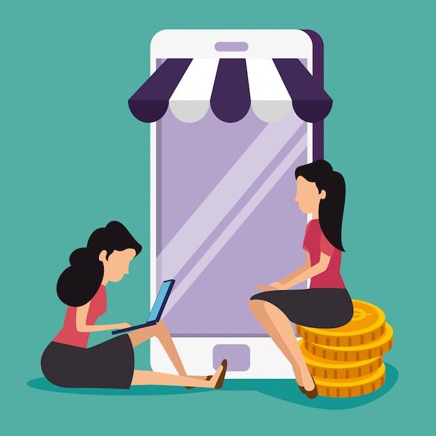 Женщины со смартфоном и ноутбуком для продажи онлайн Бесплатные векторы