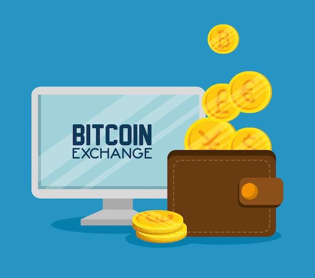 コンピューターのビットコイン画面とコイン付き財布 無料ベクター