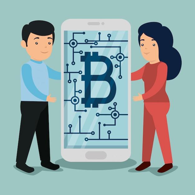 Мужчина и женщина с смартфон с символом биткойн Бесплатные векторы