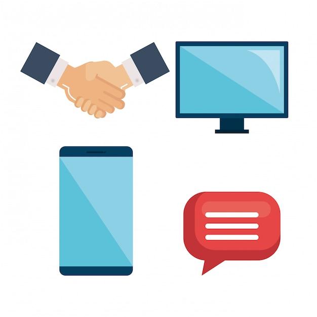 Бизнес элементы с набором руки, компьютер, монитор, смартфон и речи пузырь Бесплатные векторы