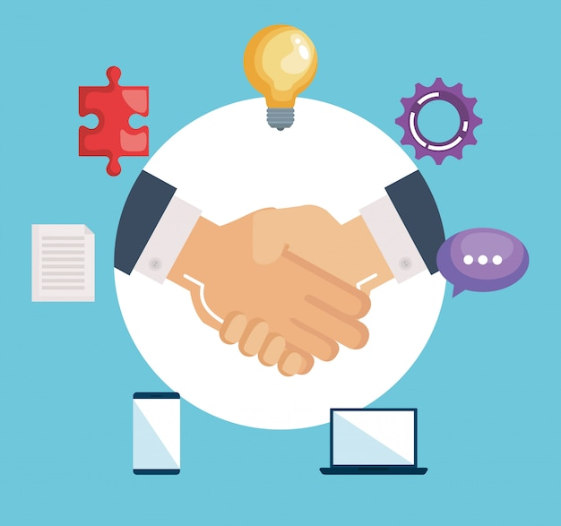 Рукопожатие бизнес с командной работой Бесплатные векторы