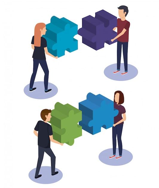 Взаимодействие людей с кусочками головоломки Бесплатные векторы