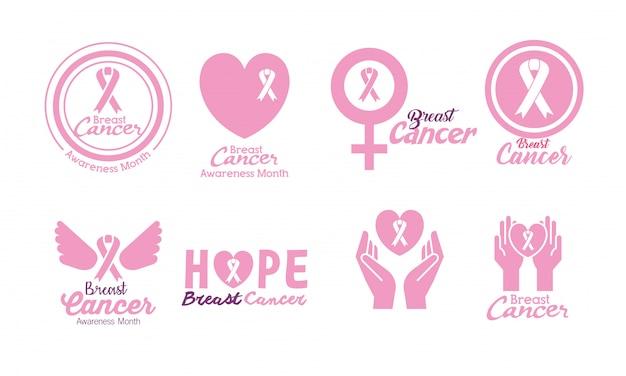 Набор рака молочной железы Бесплатные векторы