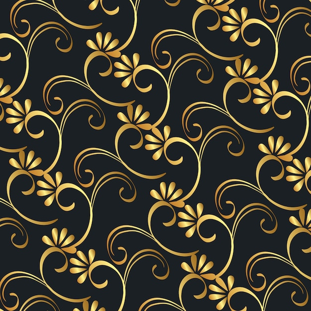 ビクトリア朝と花の黄金背景 無料ベクター
