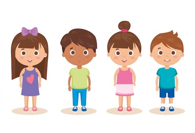 小さな子供たちのキャラクターのグループ 無料ベクター