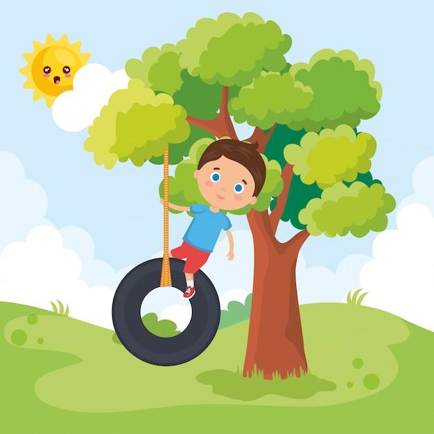 Маленький мальчик, играя в парке Бесплатные векторы