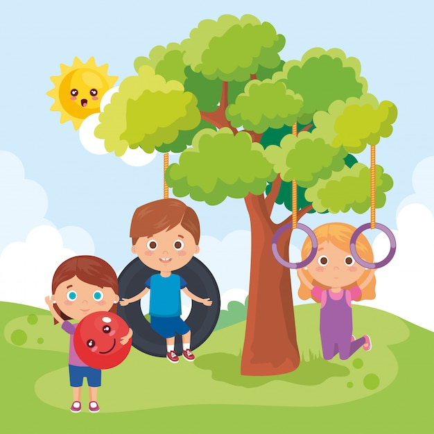 公園で遊ぶ小さな子供たちのグループ 無料ベクター