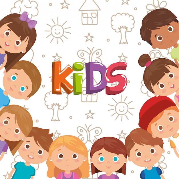 Группа маленьких детских персонажей Бесплатные векторы