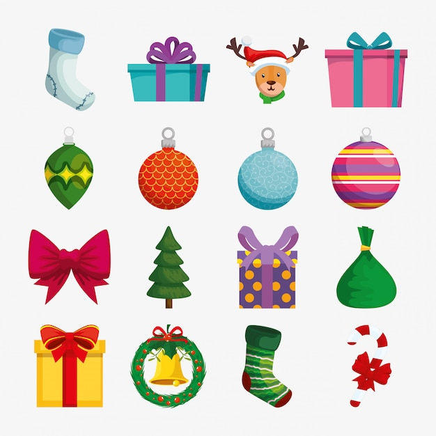 Рождественские украшения с набором иконок Бесплатные векторы