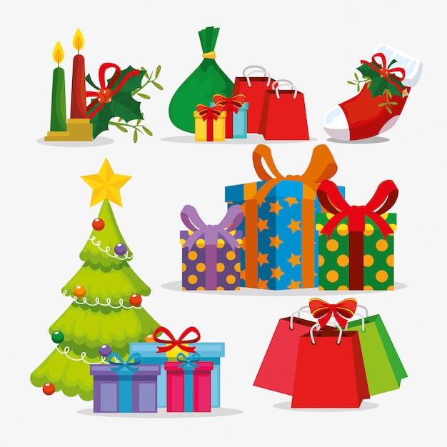クリスマスツリーとアイコンを設定 無料ベクター