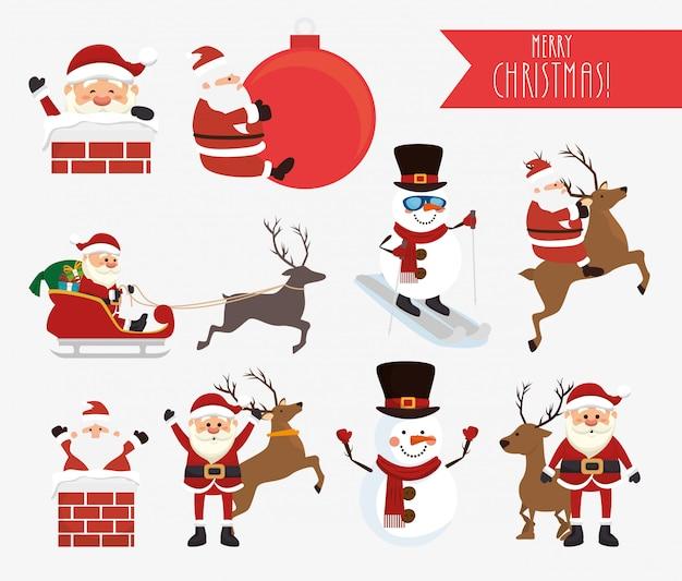 クリスマスサンタクロースと雪だるまセット 無料ベクター