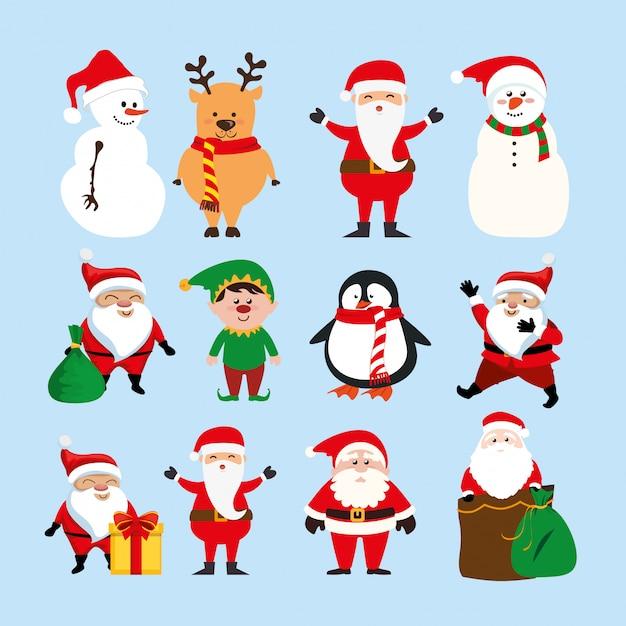 Рождество с санта-клаусом и набором символов Бесплатные векторы