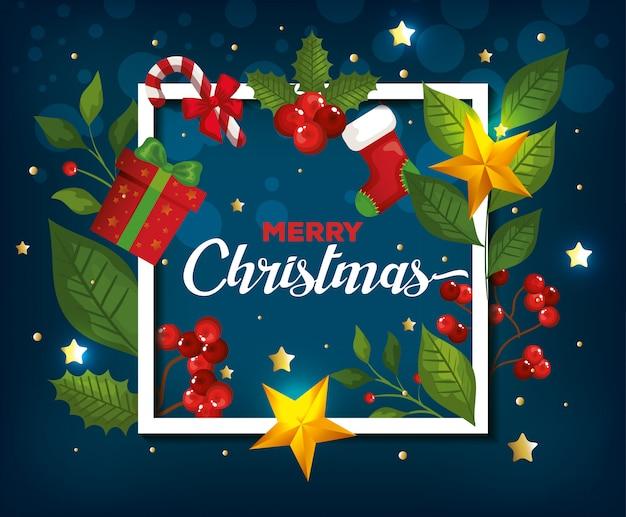Счастливого рождества и рамка с украшением карты Бесплатные векторы