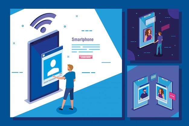 スマートフォンとソーシャルメディアのアイコンのシーンのセット 無料ベクター