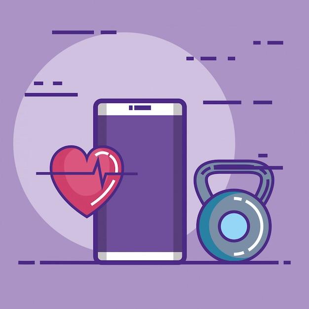 フィットネスと健康的なライフスタイルのアイコンを持つスマートフォン 無料ベクター
