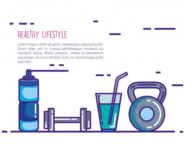 健康とフィットネスのライフスタイルは、アイコンを設定 無料ベクター