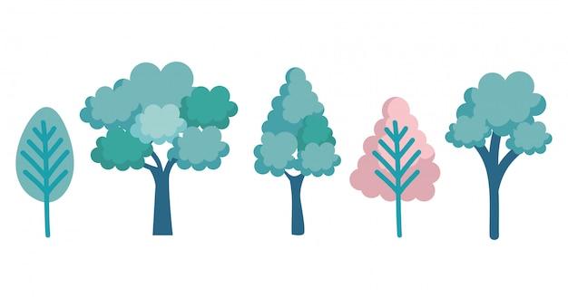 木森林アイコンを設定します 無料ベクター