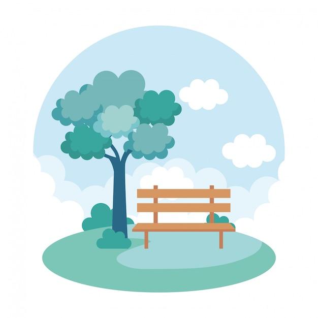 風景公園シーンアイコン 無料ベクター