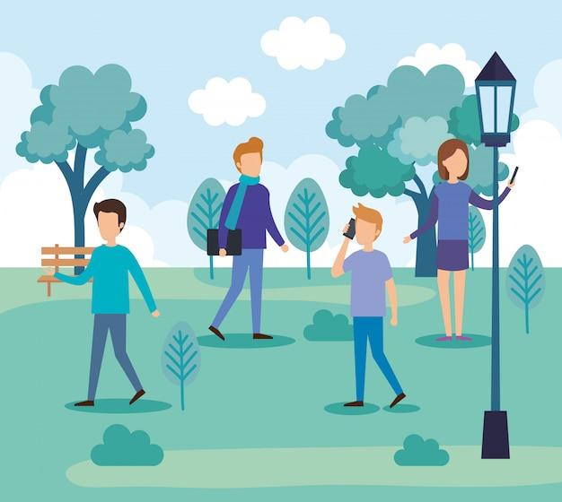 公園の人々のグループ 無料ベクター