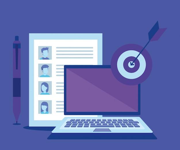 ソーシャルメディアマーケティングアイコンとラップトップ 無料ベクター