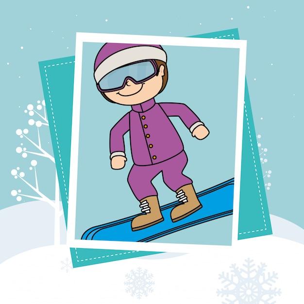 冬のスポーツとウェアアクセサリー 無料ベクター
